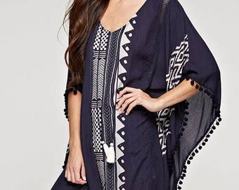 Women's Swimsuit Cover-Up, Kaftan, Tunic, PomPoms, FREE Shipping, READY to SHIP