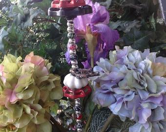 BEADED VINTAGE FLOWER Garden Sculpture, Plant Stake, Garden Art, Upcycle Water Valve, Paris, Knobs, Yard Art, Red, Black, White, Silver 9039