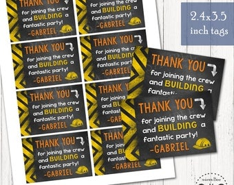Construction Chalkboard Treat Tag Printables / Tonka Truck Party DIGITAL Tags / Dump Truck Party Favor Tags