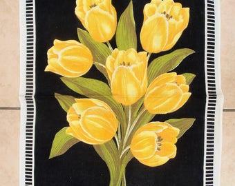Vintage Irish Linen Tea Towel. Old Bleach. Yellow Tulips.