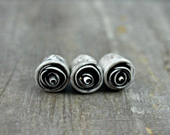 Charcoal Rose Bead, polymer clay rose bead