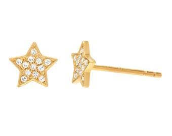 Diamond star stud earrings, 14k solid gold pair