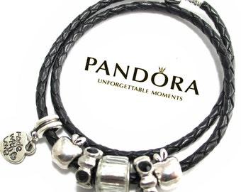 Authentic Pandora, Pandora Bracelet, Leather Bracelet, Black Leather,Genuine Pandora ,with Non Branded Beads/Charms, BLK2