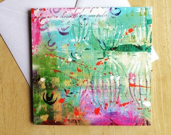 Greeting card, inside left blank for your own special message, bright abstract design