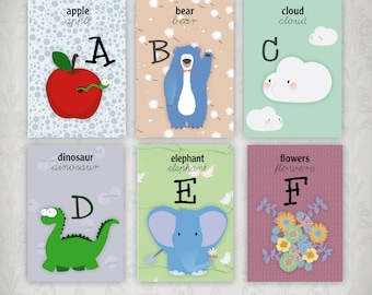 ENGLISH alphabet cards to print for schools and home, alphabet cards learning tool, printable alphabet, illustrated english alphabet,