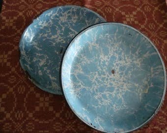 Blue Graniteware Pie Pans SET of 2