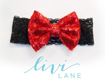 6-12 Months (15 inches) FINAL SALE: Red on Black Lace