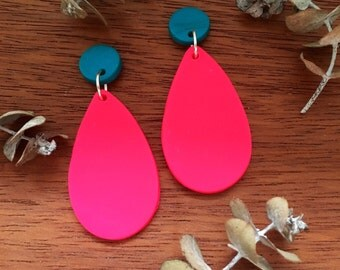 Dark Teal and Vibrant Pink Clay Dangle Earrings