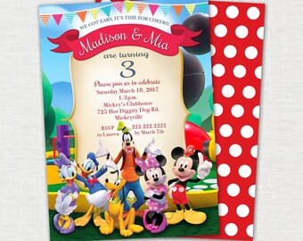 Mickey Mouse Clubhouse Twin Birthday Invitation / Mickey Mouse Clubhouse Invitation / Mickey Mouse Clubhouse Birthday Invitation Printable
