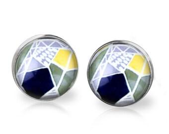 Geo Stud Back Glass Earrings