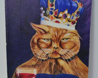 """Vintage Crown Cat Holding Wine Glass Canvas Painting Print 12"""" x 9"""""""