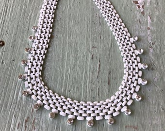 Vintage Necklace, White Chain Necklace, Rhinestone Necklace, Bib Necklace, White Jewelry, White Necklace, Rhinestone Jewelry, Bib Necklaces