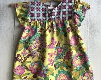 Gypsy Rose Dress - Dress with flutter sleeves, Yellow Floral