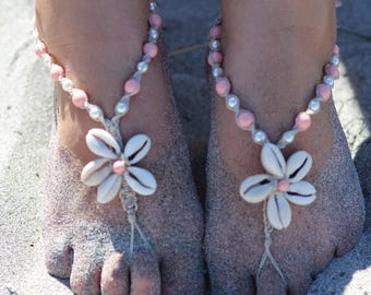 Cowrie flower shell barefoot sandals, pink coral seashell foot jewelry, beach wedding shoes, bridesmaids sandals, hemp barefoot sandals