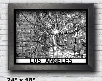 Los Angeles Wall Art map of los angeles | etsy