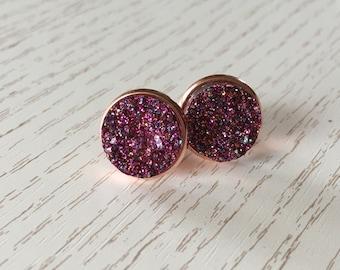 Magenta Stardust earrings in Rosé gold or silver