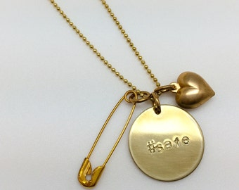 Long Brass Safety Pin Necklace with Hand-Stamped #safe Brass Pendant and Heart