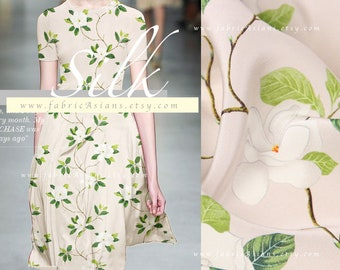 Green Leaves Beige Silk Crepe EXPRESS delivery