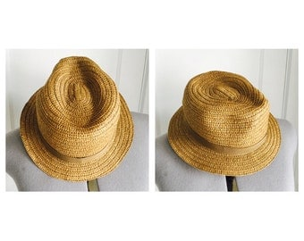 vintage straw fedora//sunhat