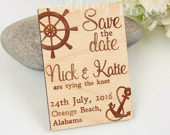Nautical Save the Date Magnet, Custom Engraved Save the Date, Wood Save the Date, Rustic Save the Date, Wedding Favors, Wedding Invitation