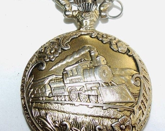 Storewide 25% Off SALE Vintage Highly Decorative Brushed Quartz Railroad Milan Pocket Watch Featuring Embossed Antique Steam Engine & Raised