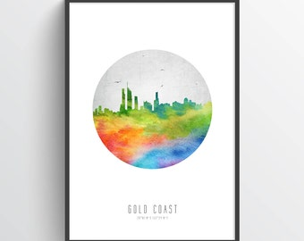 Gold Coast Poster, Gold Coast Skyline, Gold Coast Cityscape, Gold Coast Art Print, Gold Coast Decor, Home Decor, Gift Idea, AUGC20P