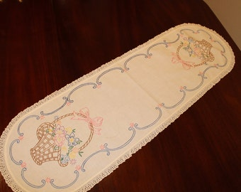 Vintage Embroidery Table Runner Scarf, L104