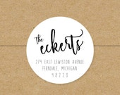simple modern round return address labels // custom stickers // custom typography // digital calligraphy // many colors 2 inch round