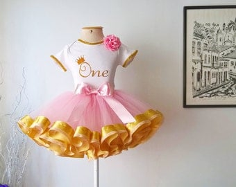 Tutu Outfit Gold and Light Pink
