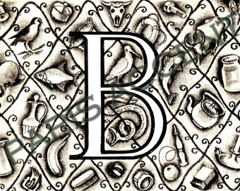 Instant digital download of Letter 'B' from 'Nouveau Petit Larousse Illustré' a French Encyclopedia. Great for arts and crafts! Dated 1952