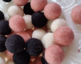 Felt balls in blush, black & white. Perfect for party decor, garlands and crafts, 50 pieces