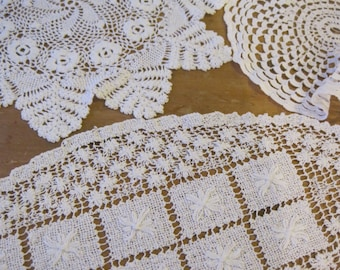 Set of Vintage Ivory Crochet Doilies, Lace Doily Cottage Style