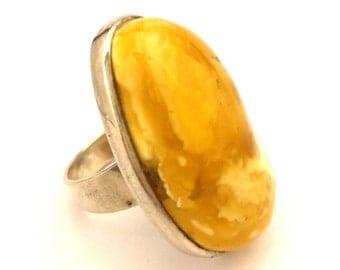Amber Baltic Ring Vintage Genuine Massive 12.38 Gr Egg Yolk Color Silver 925 Size 8.0