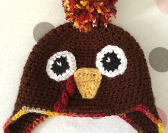 Handmade Crochet Thanksgiving Turkey Beanie Hat