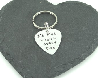 I'd Pick You Every Time Keyring   Gift for him   gift for music lover   valentines gift   gift for husband, fiance, boyfriend   guitar pick