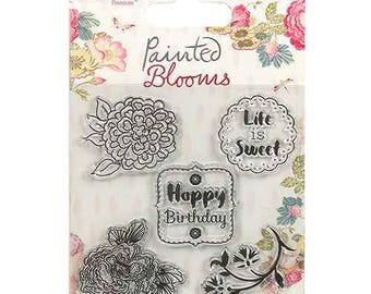Clear Stamp Set - Happy Birthday - Life is Sweet - Dovecraft Painted Blooms - Bloom Floral Flower - Sentiment Rubber Stamps