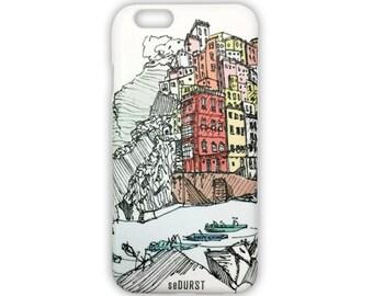 iPhone 6 Case w/ Art Sketch of Italy Cinque Terre