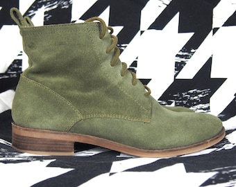 Green Leather Booties