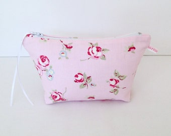 Make Up Bag, Pink Rosebud Cosmetic Bag, Make Up Bag, Pouch, Purse, Handbag Tidy, Hair Accessories Bag, Mobile Wires Bag, Gift for Her