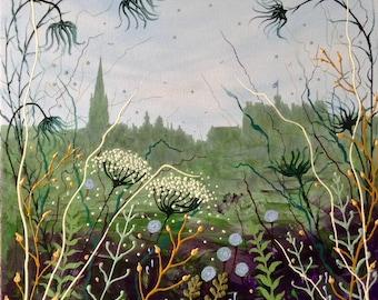 Hidden Garden, Edinburgh . Print, Scotland cityscape, wild flowers