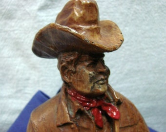 Vintage Cowboy Sculpture - Western Cowboy Statue - Looks Like Carved Wood