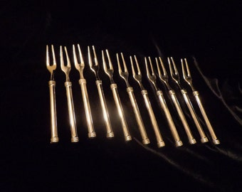 Set of 10 Silver Hors D'Oeuvres Forks, Silver Plate Buffet Individual Service Forks for Hors D'Oeuvres