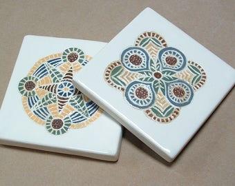 Tile Coaster set of 2 handmade medallion tile coasters Housewarming gift set
