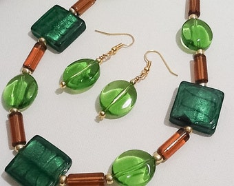 Green & Amber Necklace with Matching Earrings Handmade by Emerald Forest Designs