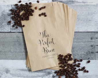 The Perfect Brew, Coffee Wedding Favors, Coffee Favors, Coffee Bags, Wedding Coffee, Personalized Wedding Favors, Favor Bags, Treat Bags