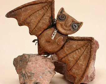 OOAK Halloween Bat Primitive animals Halloween Decoration Folk art Textile Decoration Doll.