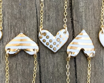 striped or spotted porcelain heart necklace