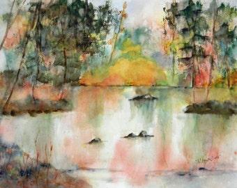 AUTUMN LAKE Giclee Print