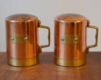 Vintage Copper Kitchen salt and pepper shakers, riveted handles and labels, country rustic kitchen