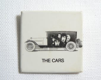 Rare Vintage Late 1970s The Cars Antique Car Black and White Band Pin / Button / Badge